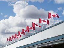Canada flags on top of a building Royalty Free Stock Photography