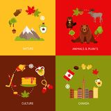 Canada flat icons set Stock Photos