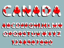Canada font alphabet and numeral Royalty Free Stock Photo