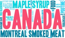 Canada Food Word Cloud. On a white background Royalty Free Stock Photo