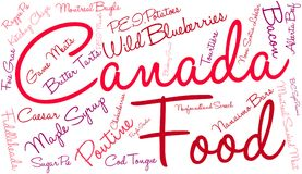 Canada Food Word Cloud. On a white background stock illustration