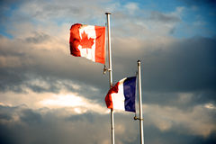Canada and France flag royalty free stock image