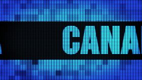 Canada Front Text Scrolling LED Wall Pannel Display Sign Board. Canada Front Text Scrolling on Light Blue Digital LED Display Board Pixel Light Screen Looped stock illustration