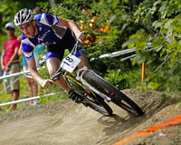Canada games mountain biking race turn male Stock Photography