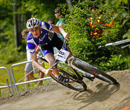 Canada games mountain biking turn male race. Isaac Niles competes in men's mountain biking at the Canada Games August 7, 2013 in Sherbrooke, Canada Stock Images