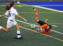 Canada games soccer women save ball keeper. Women's soccer keeper Nicole McInnis of Prince Edward Island makes a save against New Brunswick at the Canada Games Stock Photos