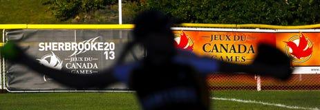 Canada games softball woman silhouette Stock Photos