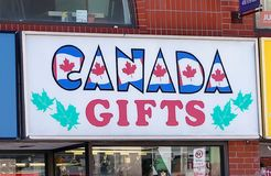 A gift Store Sign In Toronto. Canada Gifts store offers gifts and products Stock Photo