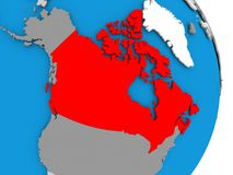 Canada on globe. Canada in red on model of political globe. 3D illustration Royalty Free Stock Images