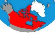 Canada on globe. Canada on 3D model of political globe. 3D illustration Stock Photos