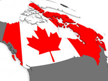Canada on globe with flag. Map of Canada with embedded national flag. 3D illustration Stock Image