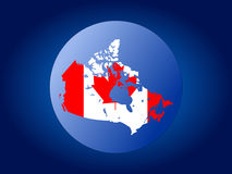 Canada globe illustration. Map and flag of Canada globe illustration Stock Photography