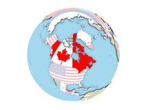 Canada on globe isolated. Canada on political globe with embedded flags. 3D illustration isolated on white background Stock Photography