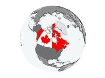 Canada on globe isolated. Canada on political globe with embedded flags. 3D illustration isolated on white background Royalty Free Stock Image