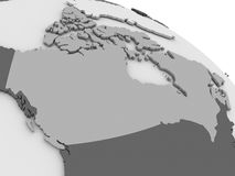 Canada on grey 3D map. Map of Canada on grey model of Earth. 3D illustration Stock Photography