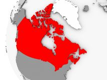 Canada on grey globe. Canada highlighted on grey 3D model of political globe. 3D illustration Royalty Free Stock Images