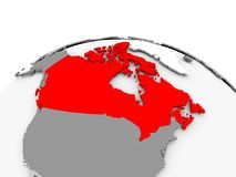 Canada on grey globe. Canada in red on grey model of political globe. 3D illustration Royalty Free Stock Images