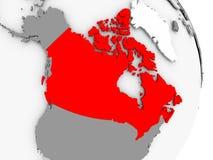 Canada on grey political globe. Canada highlighted in red on grey political globe. 3D illustration Royalty Free Stock Photos