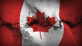 Canada grunge dirty flag waving on wind. Canadian background fullscreen grease flag blowing on wind. Realistic filth fabric texture on windy day Royalty Free Stock Photography