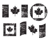 Canada grunge old flags, black isolated on white background, illustration. vector illustration