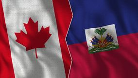 Canada and Haiti Half Flags Together stock images