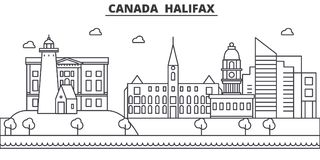 Canada, Halifax architecture line skyline illustration. Linear vector cityscape with famous landmarks, city sights. Design icons. Editable strokes Royalty Free Stock Photography