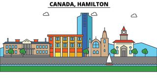 Canada, Hamilton Architecture d'horizon de ville editable Photos stock