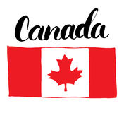 Canada Hand drawn flag, with Maple leaf and calligraphy lettering vector illustration isolated on white background. Royalty Free Stock Photos