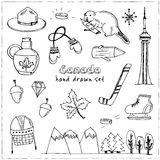 Canada hand drawn icon vector doodle set Royalty Free Stock Image