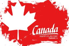 Canada happy flag day, february 15 celebrate background with maple leaf, hand lettering text design and brush stroke. Vector illustration Stock Photo