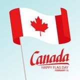 Canada happy flag day greeting card with waving canadian national flag and hand lettering text design. Royalty Free Stock Image