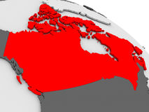 Canada. Highlighted in red on model of globe. 3D illustration Royalty Free Stock Photos
