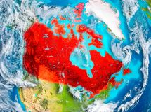 Canada in red on Earth Stock Photos