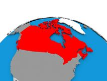 Canada on political globe. Canada highlighted in red on political globe. 3D illustration Stock Photo