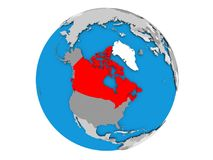 Canada on globe isolated. Canada highlighted in red on political globe. 3D illustration isolated on white background Stock Photo