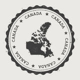 Canada hipster round rubber stamp with country. Stock Photo