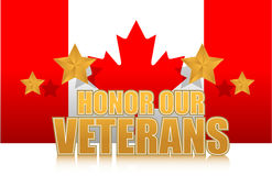 Canada honor our veterans gold illustration sign Stock Photos