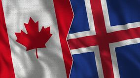 Canada and Iceland Half Flags Together stock illustration
