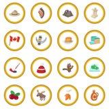 Canada icon circle. Cartoon isolated vector illustration Stock Photos