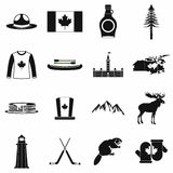 Canada icons black. Canada icons in black simple style for web and mobile devices Royalty Free Stock Images