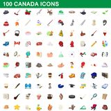 100 canada icons set, cartoon style. 100 canada icons set in cartoon style for any design illustration royalty free illustration