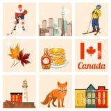 canada Illustration canadienne de vecteur positionnement Carte postale de voyage illustration libre de droits