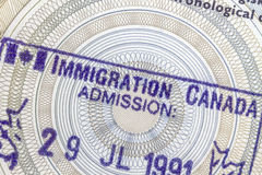 Canada Immigration Stamp Stock Photo