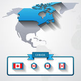 Canada info card. Canada on the map of North America with flags Stock Images