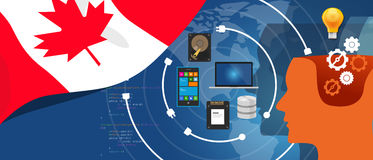 Canada IT information technology digital infrastructure connecting business data via internet network using computer Stock Image
