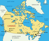 Canada - kaart Royalty-vrije Stock Foto's