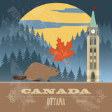 Canada landmarks. Retro styled image Stock Photos