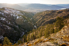 Canada landscape. Looking out over mountains towards Penticton, BC, Canada Royalty Free Stock Photo