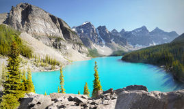 Canada Landscape Mountains Moraine Lake. The Ten Peaks Valley and blue-green Moraine Lake panorama view. Canada Landscape Mountains Royalty Free Stock Photo