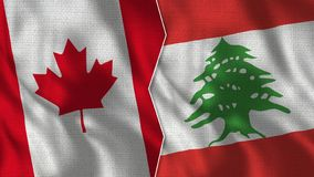 Canada and Lebanon Half Flags Together. Fabric Texture - High Quality stock images